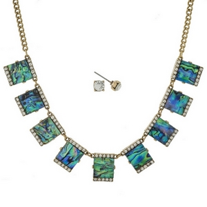 """Gold tone necklace set with abalone squares, accented with clear rhinestones and matching stud earrings. Approximately 16"""" in length."""