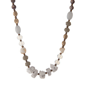 "Gold tone necklace with assorted opal, gray, green, and natural stone beads. Approximately 16"" in length."