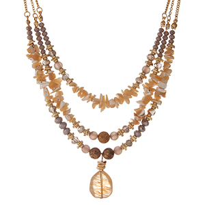 "Gold tone, three layer necklace with gray, ivory and picture jasper stones. Approximately 16"" in length."