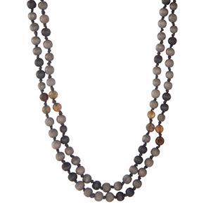 "Gray and navy wooden beaded wrap necklace. Approximately 60"" in length. Made in the Philippines."