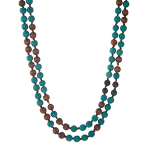 """Brown and turquoise wooden beaded wrap necklace. Approximately 60"""" in length. Made in the Philippines."""