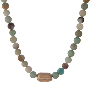 "Amazonite natural stone beaded necklace with a hammered gold tone accent bead. Approximately 16"" in length."