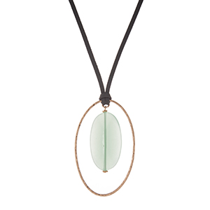 "Gray, faux leather, necklace with a mint green natural stone pendant, accented with a hammered gold tone shape. Approximately 32"" in length."