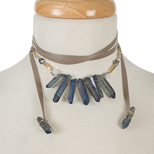 "Gray leather wrap necklace with blue iridescent crystals and gold tone accents. Approximately 58"" in length."