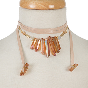 """Mauve leather wrap necklace with topaz crystals and gold tone accents. Approximately 58"""" in length."""