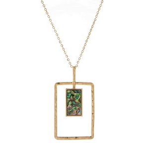 """Gold tone necklace with a rectangle pendant, accented with an abalone stone. Approximately 28"""" in length."""