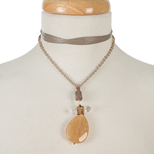 """Gold tone and gray leather wrap choker necklace with a three stone neutral pendant. Approximately 66"""" in length."""