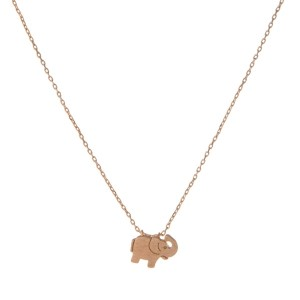 """Dainty rose gold necklace with an elephant pendant. Approximately 14"""" in length."""