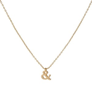 "Dainty gold necklace with an ampersand pendant. Approximately 14"" in length."