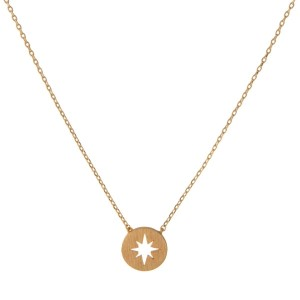 "Dainty gold tone necklace with a star pendant. Approximately 14"" in length."