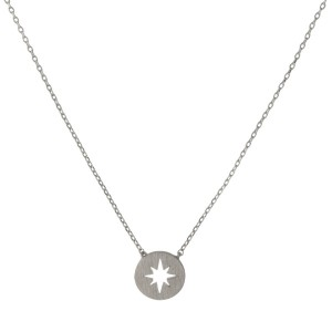 "Dainty silver tone necklace with a star pendant. Approximately 14"" in length."