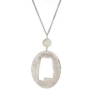 "Burnished silver tone necklace with an Alabama cutout pendant accented by a pearl bead. Approximately 30"" in length. Oval pendant is approximately 2.5"" tall."
