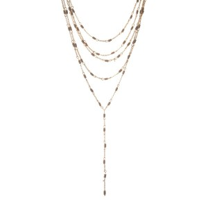 "Gold tone multilayer 'Y' necklace with gray beads. Approximately 14"" to 16"" in length."