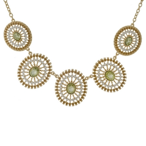 "Gold tone necklace with five yellow, filigree circles and yellow rhinestones. Approximately 18"" in length."