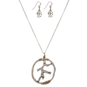 """Silver tone necklace set with a coral reef pendant and matching fishhook earrings. Approximately 32"""" in length."""
