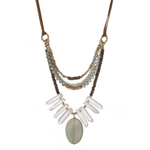 Brown suede necklace displaying layers of brown wooden beads, mint faceted beads, white crystals and a light blue natural stone. Necklace can be tied at any length up to 32.""