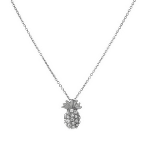 "Dainty silver tone necklace featuring a pineapple pendant with rhinestones. Length adjusts from 16""-18""."