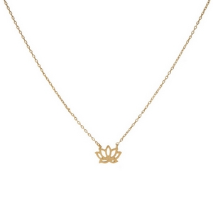 """Dainty gold tone necklace featuring a brushed pendant shaped in a flower outline. Pendant approximately 7mm. Length adjusts from 16""""-18""""."""