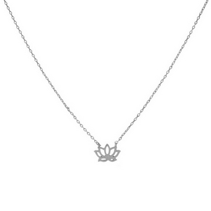 "Dainty silver tone necklace featuring a brushed pendant shaped in a flower outline. Pendant approximately 7mm. Length adjusts from 16""-18""."
