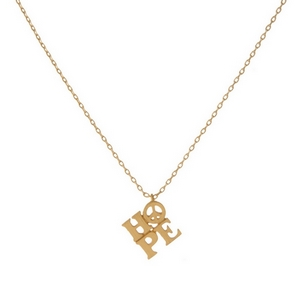 "Dainty gold tone necklace featuring a small ""Hope"" pendant. Pendant approximately 7mm. Length adjusts from 16""-18""."