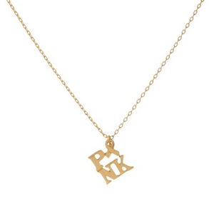 """Dainty gold tone necklace featuring a small pendant that reads """"PINK"""" with a breast cancer awareness symbol. Pendant is approximately 7mm. Length adjusts from 16""""-18""""."""