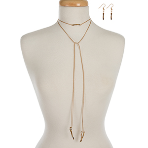 "Tan waxed cord wrap necklace set displaying picture jasper beads and matching fishhook earrings. Approximately 52"" in length."