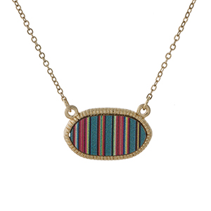 "Dainty gold tone necklace featuring a mint green stripe pattern pendant. Approximately 16"" in length."
