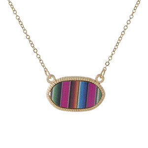 "Dainty gold tone necklace featuring a stripe pattern pendant. Approximately 16"" in length."