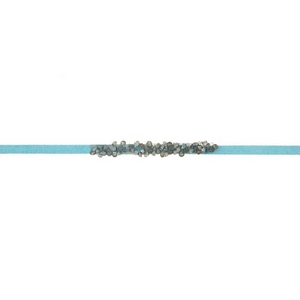 "Turquoise faux suede choker with hematite and gray stones. Approximately 12"" in length."