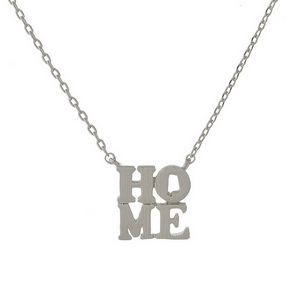 "Silver tone necklace displaying a ""HOME"" pendant with the state shape of Alabama in the 'O' of the pendant. Approximately 16"" in length."