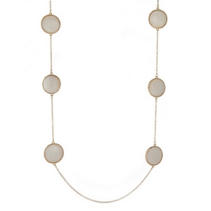 "Gold tone necklace displaying double sided, mother of pearl, circle stationaries. Approximately 32"" in length."