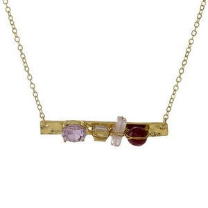 "Dainty gold tone bar necklace with pink and pale pink stones and rhinestones. Approximately 16"" in length."