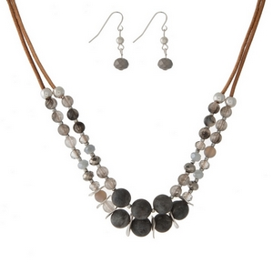 "Brown cord, two layer, necklace set featuring gray and labradorite natural stone beads and matching fishhook earrings. Approximately 14"" and 16"" in length."