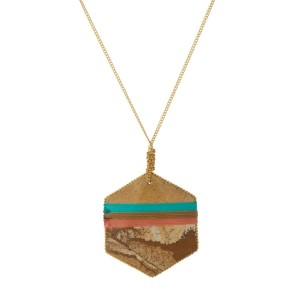 """Gold tone necklace with a thread wrapped picture jasper stone pendant. Approximately 30"""" in length."""
