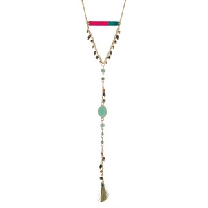 "Gold tone necklace with a hot pink and teal thread wrapped bar and a fabric tassel pendant. Approximately 28"" in length."