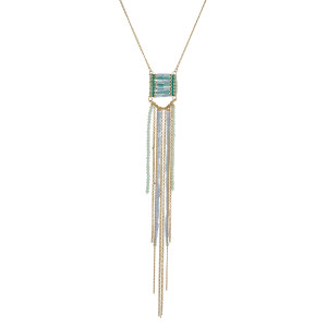 """Gold tone necklace with a mint green and blue beaded tassel pendant. Approximately 30"""" in length."""