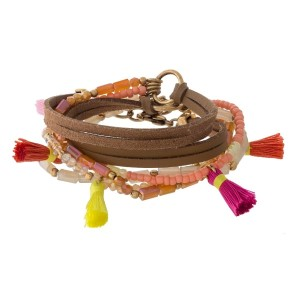 "Tan leather wrap bracelet with ivory beads, and coral, yellow, and pink tassels. Can also be worn as an 18"" necklace."