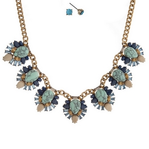 "Gold tone necklace set with turquoise stones surrounded by blue and beige stones and matching stud earrings. Approximately 16"" in length."