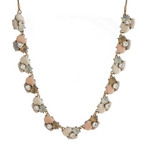 "Burnished gold tone necklace with ivory, blush pink and opal stones and rhinestones. Adjustable from 12"" to 32"" in length."