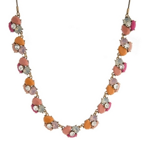 "Burnished gold tone necklace with peach, pink and opal stones and rhinestones. Adjustable from 12"" to 32"" in length."