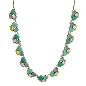"Burnished gold tone necklace with teal, mint green and gray stones and rhinestones. Adjustable from 12"" to 32"" in length."