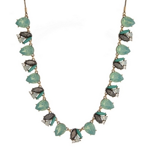 "Burnished gold tone necklace with shimmering mint green and black rhinestones. Adjustable from 12"" to 32"" in length."