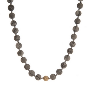 "Gray jasper natural stone beaded necklace with gold tone accents. Approximately 16"" in length."