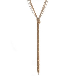 "Two tone multi strand necklace featuring a chain tassel. Approximately 28"" in length."