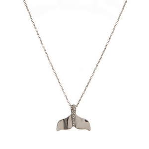 "Dainty silver tone necklace with a whale tale pendant, accented with clear rhinestones. Approximately 16"" in length."
