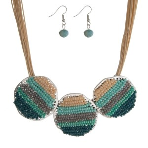 """Tan cord statement necklace with three turquoise, mint, purple and peach beaded circles and matching fishhook earrings. Approximately 16"""" in length."""