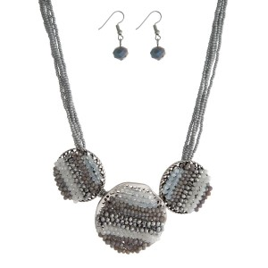 """Gray beaded cord statement necklace with three gray and opal beaded circles and matching fishhook earrings. Approximately 16"""" in length."""