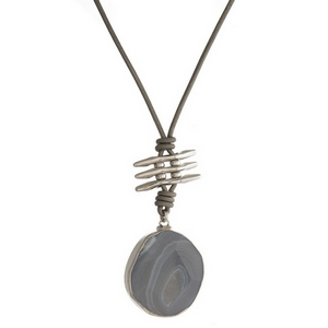 "Gray cord necklace with a silver tone and gray natural stone pendant. Approximately 30"" in length."