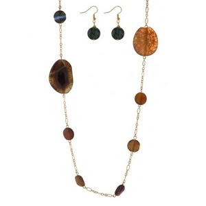 "Gold tone necklace with neutral multicolored natural stones and matching fishhook earrings. Approximately 36"" in length."