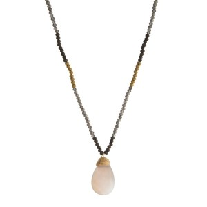 """Gray and bronze beaded necklace with a gray natural stone pendant. Approximately 28"""" in length."""